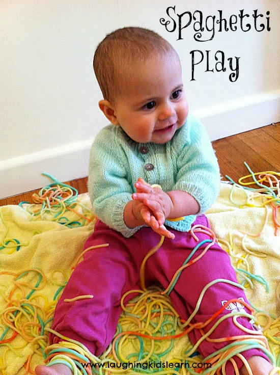 Spaghetti sensory play for babies