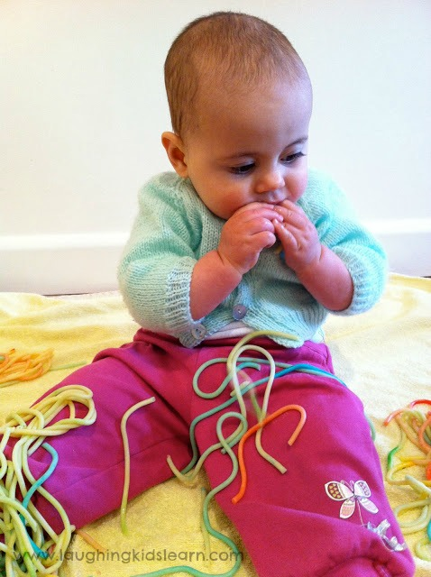 edible sensory fun and play for babies using spaghetti