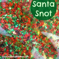 Mess free Christmas sensory activity for kids. Playing with Santa snot will have them in fits of laughter.