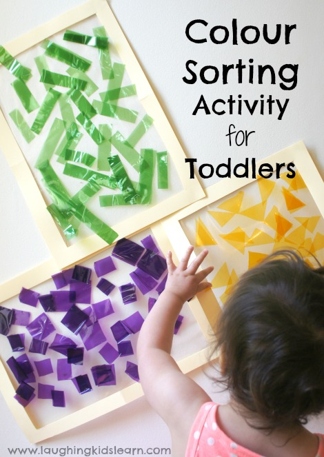 Colour sorting activity for toddlers using sticky contact and cellophane