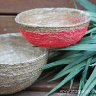 handmade DIY string bowl craft for kids