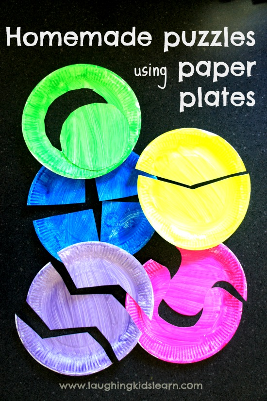 Homemade puzzles using paper plates