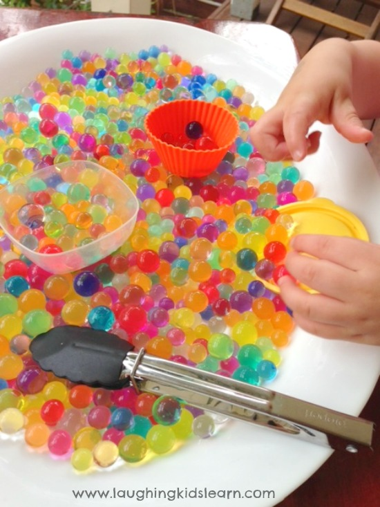 Adding basic utensils with water beads