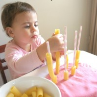 Pasta threading activity for toddlers