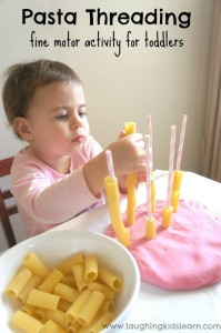 Pasta Threading - a fine motor activity for toddlers
