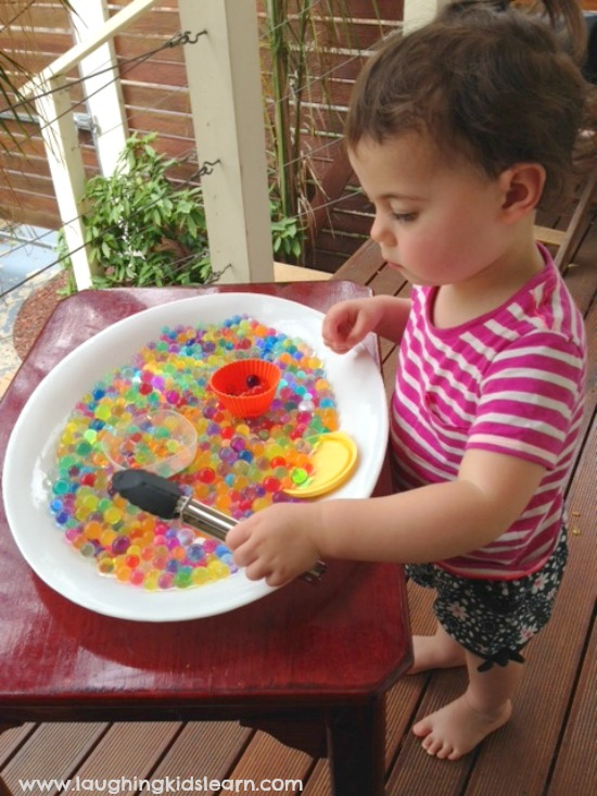 Playing with sensory water beads