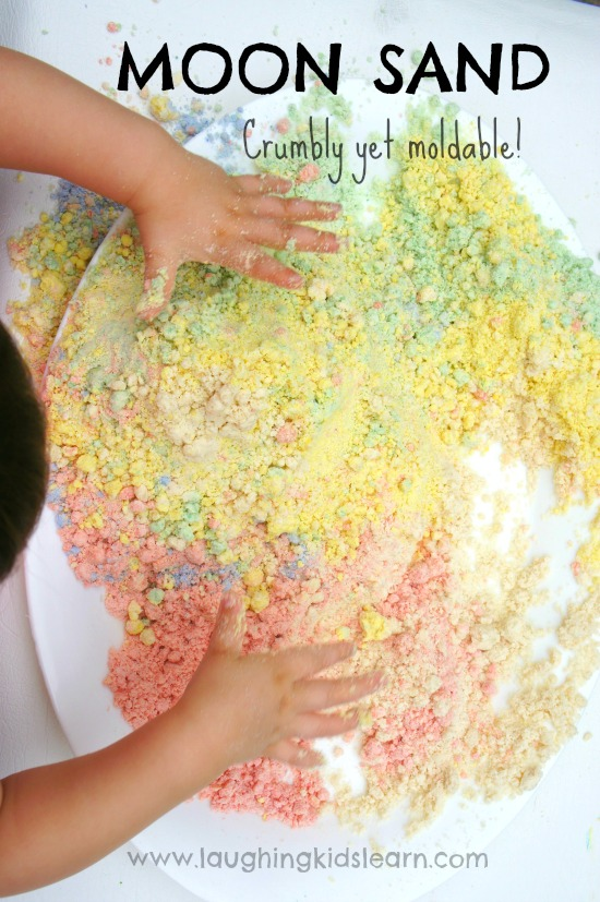 Exploring moon sand for play with kids