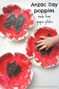 Anzac day poppy craft for kids using paper plates
