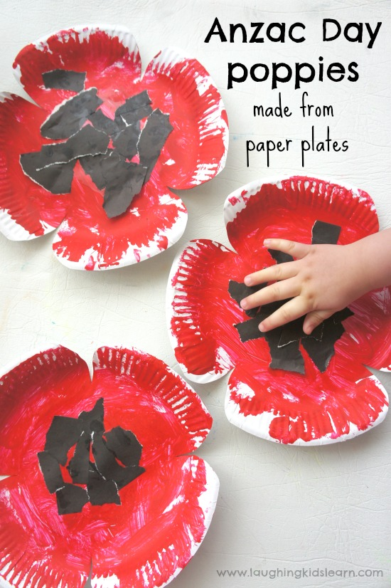 Anzac day poppy craft made from paper plates laughing for Veterans day poppy craft
