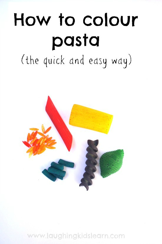 How to colour pasta for play the quick and easy way