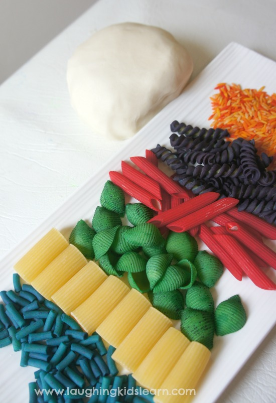 Invitation to play with pasta and play dough