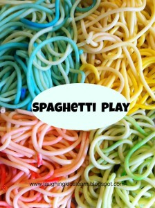 Cooked spaghetti for play