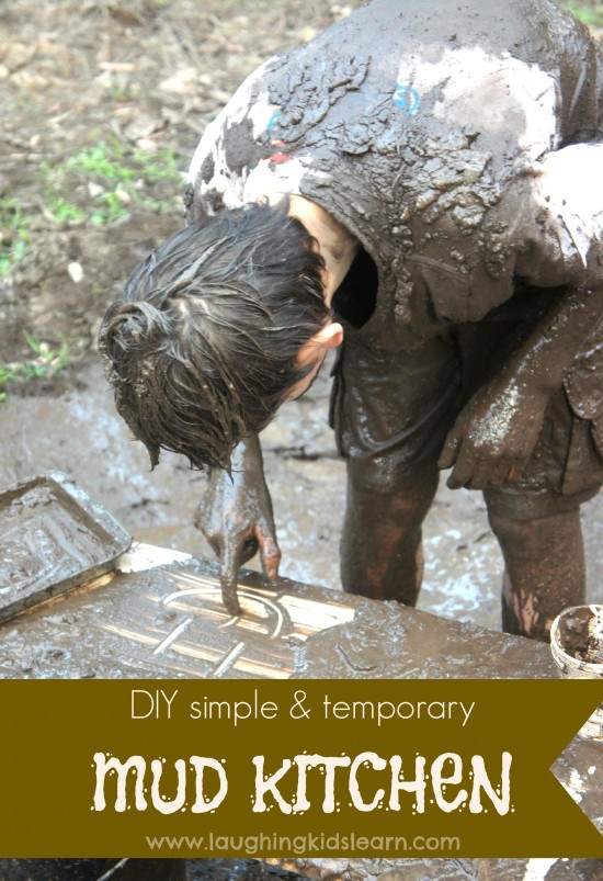 DIY simple and temporary mud kitchen for kids at home