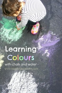 Learning colours with chalk and water. Great for toddlers