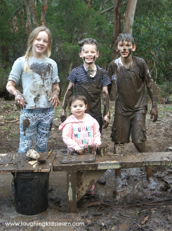 messy fun at the mud kitchen