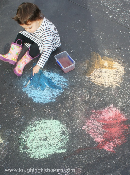 Painting colours with chalk and water