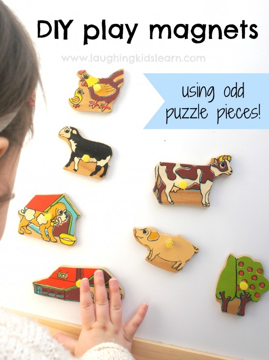 DIY play magnets using odd puzzle pieces. Great toddler activity.