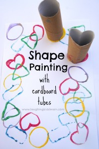 Shape painting with cardboard toilet tunes