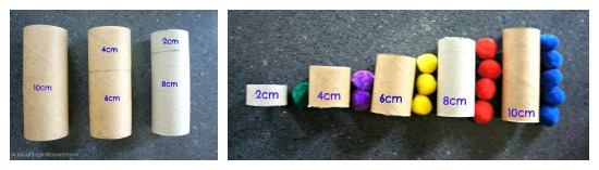 Toilet Rolls with PomPoms for teaching and learning numbers and colours
