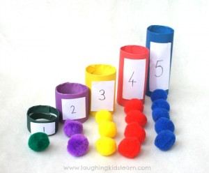 Coloured number counting tubes for kids