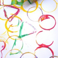 handmade wrapping paper with cardboard shape stamps