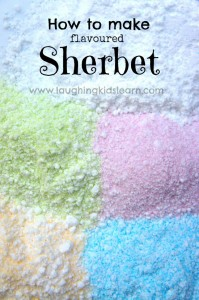 how to make flavoured sherbet. Simple recipe and edible science activity for kids.