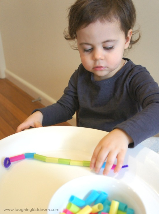 learning colours with draw beads and for fine motor development.