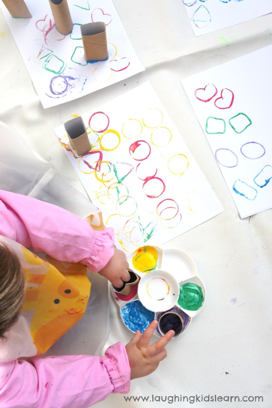 Painting activity with toilet rolls