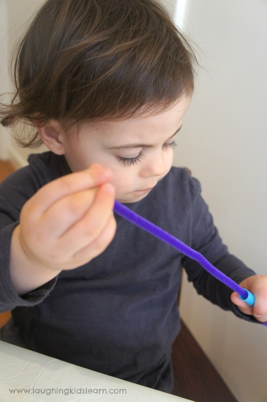 Theaded straw beads activity