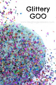 how to make glittery goo for sensory messy fun