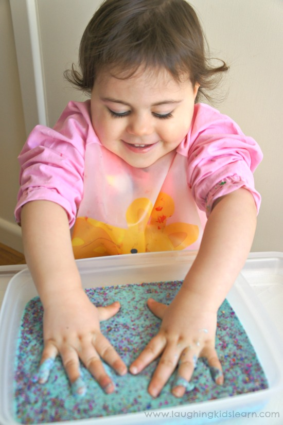 children having fun with sensory glittery goo