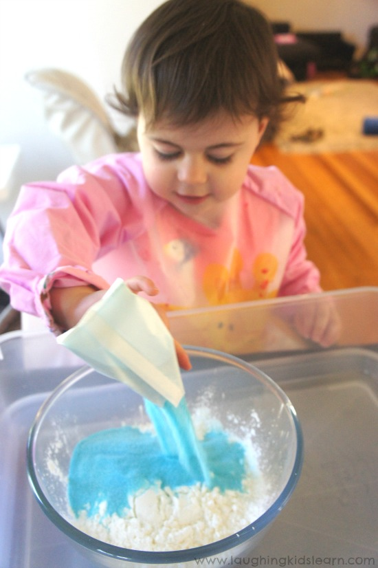 kids making glittery oobleck goo for science fun