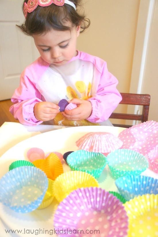 fine motor skills using cupcake liners