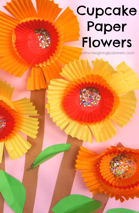 Pretty cupcake paper flower craft for kids to make and perfect for spring