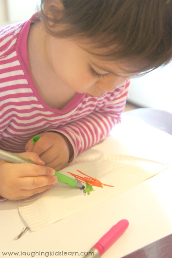 drawing on paper plate for spring craft