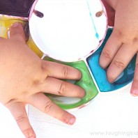 finger painting with edible and shiny 2 ingredient paint
