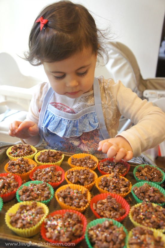 Making chocolate crackles with kids