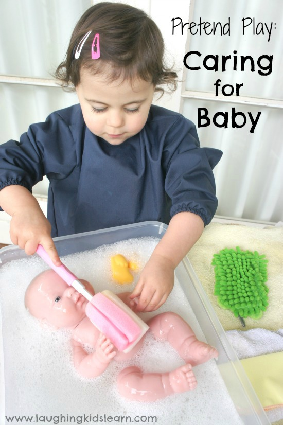Prentend Play: learning how to care for newborn baby