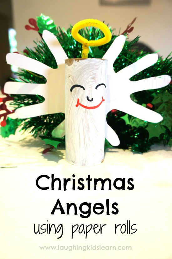 Christmas angel using toilet paper rolls