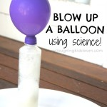 Activity for kids to blow up a balloon using science