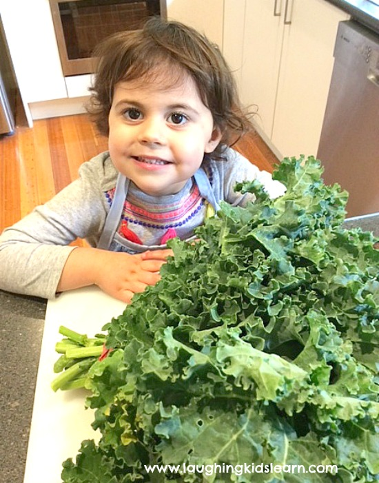 cooking kale chips with kids