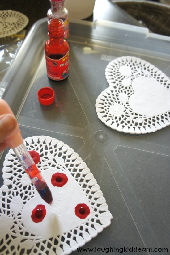 Dropper art dying doily hearts