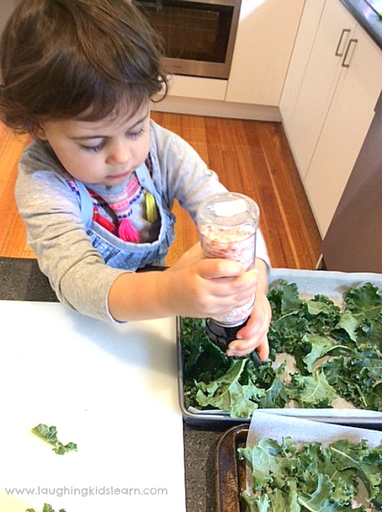 making kale chips with kids