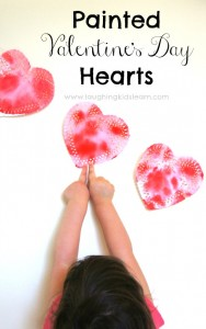Painted valentine's day doily heart activity