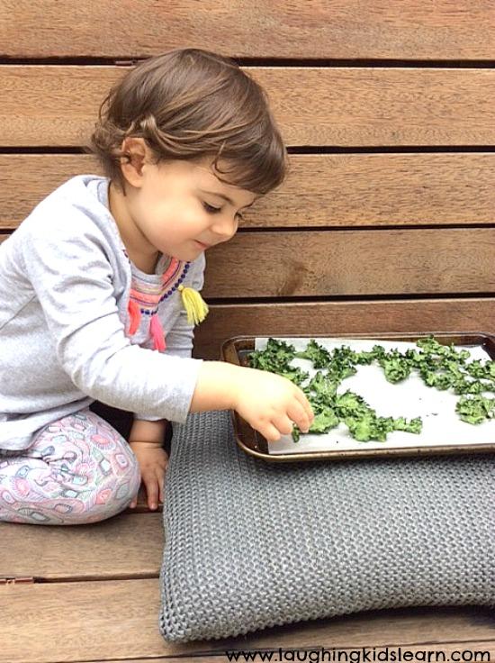 taste testing kale chips