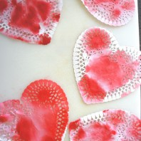 Fun kids activity - Valentine's Day doily hearts