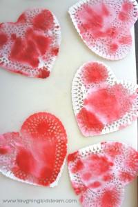 Fun kids activity - Valentine's Day doily hearts