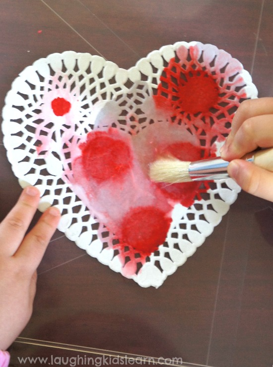 Toddler activity water painting doily hearts