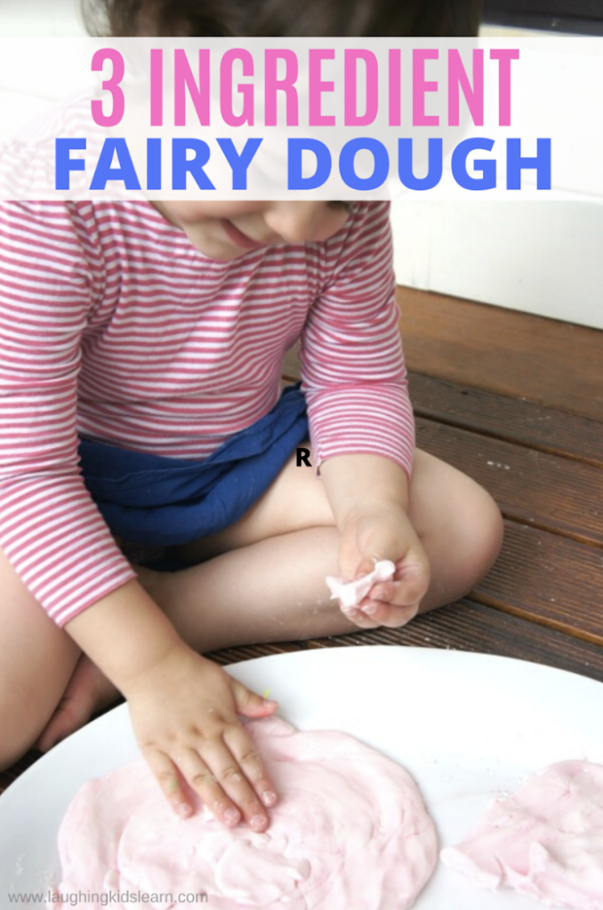 Fairy dough recipe using 3 ingredients. Super simple and fun to make and play with kids.