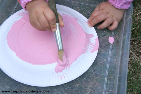 Painting bunny paper plate & Easter bunny paper plate craft - Laughing Kids Learn